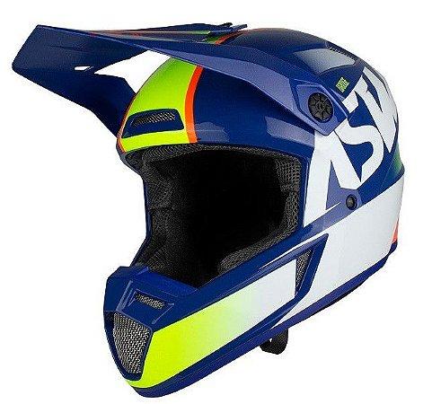 Capacete Motocross Cross ASW Bridge Azul Branco
