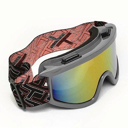 Óculos Motocross Mattos Cinza Lente Espelhada Trilha Cross