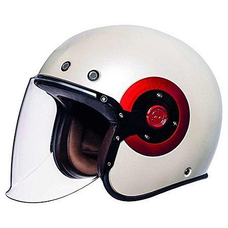 Capacete Smk Retro Custom Aberto Jet Pearl Branco Vermelho