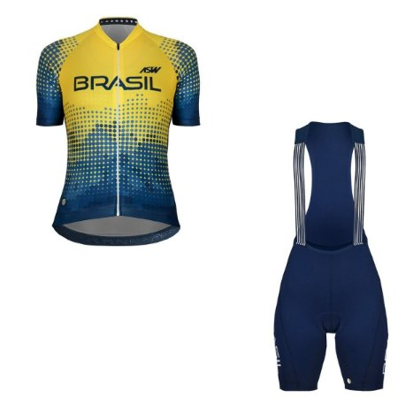 Conjunto Ciclismo Bike Feminino Asw Brasil Azul Amarelo
