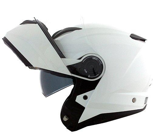 Capacete Norisk Force Monocolor Branco Robocop Escamoteável