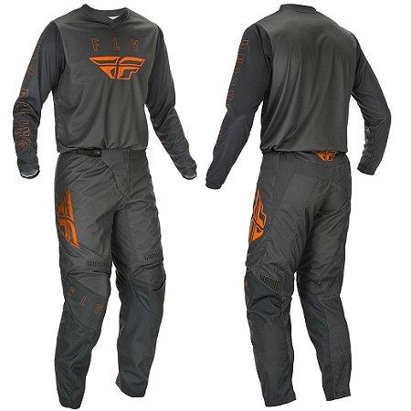 Conjunto Motocross Trilha Cross Fly F16 Cinza Laranja