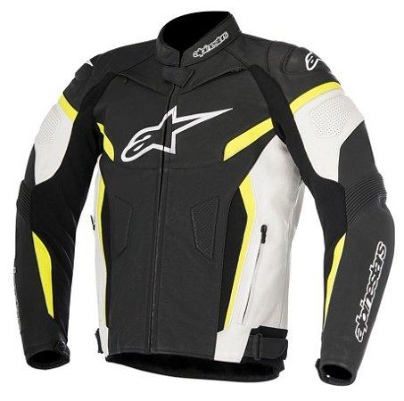 Jaqueta Alpinestars Couro Gp Plus R V2 Preta Branca Amarela