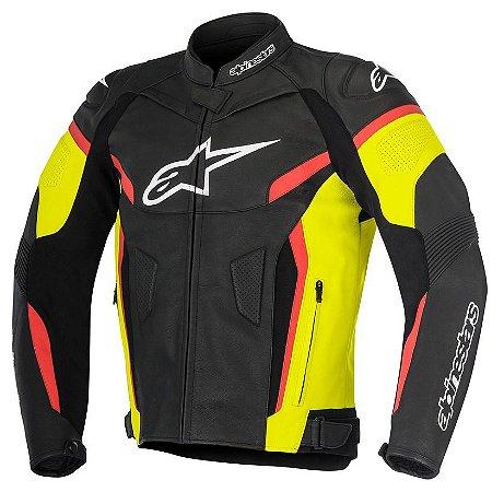 Jaqueta Alpinestars Couro Gp Plus R V2 Preta Amarela Vermelha