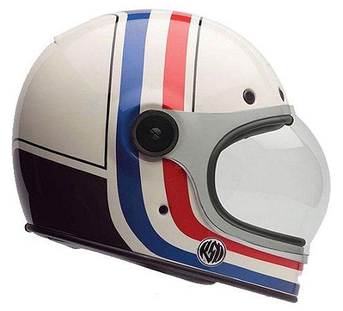 Capacete Bell Bullitt RSD Viva -  Branco/Vermelho/Azul/Preto (2 Viseiras)