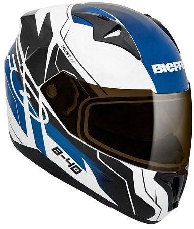 Capacete Bieffe B40 Trust Branco Azul