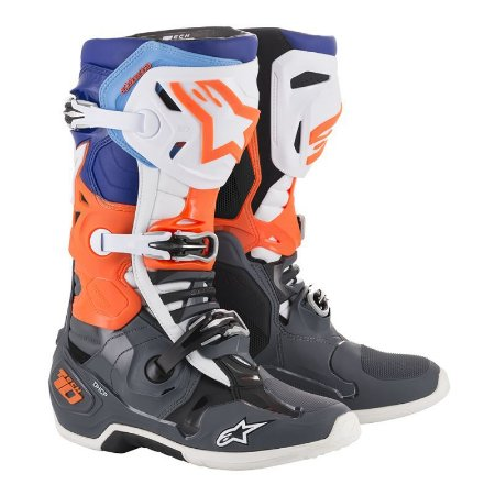 Bota Motocross Alpinestars Tech 10 Branca Azul Laranja
