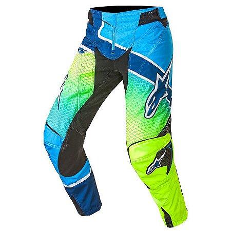 Calça Motocross Alpinestars Techstar Venon 17 Azul Ama Fluo