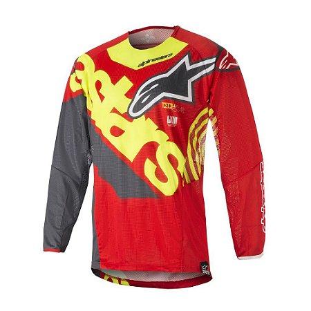 Camisa Cross Motocross Alpinestars Techstar Venon 18 Vermelh