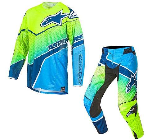 Conjunto Motocross Alpinestars Techstar Venon 17 Azul Amarel