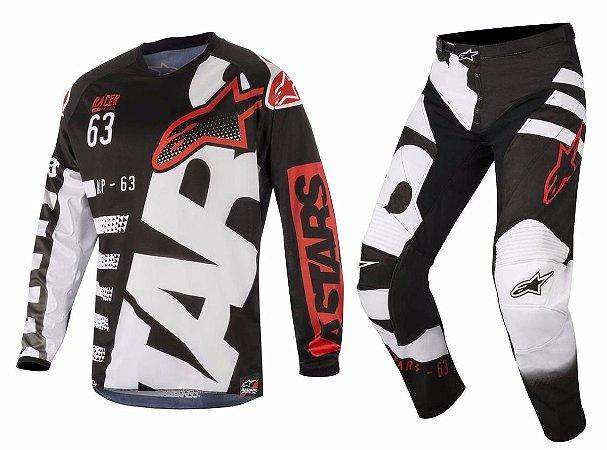 Conjunto Cross Motocross Alpinestars Racer Braap 2018 Preto