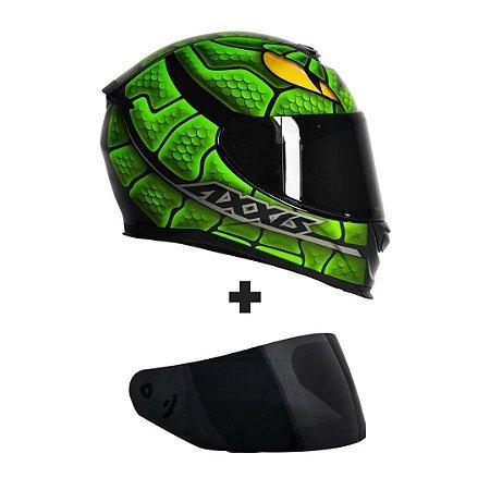 Capacete Axxis Eagle Snake - Preto/Verde + Viseira Fumê