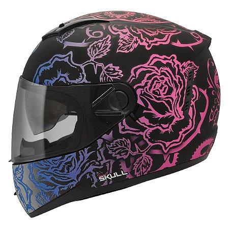 Capacete Feminino Peels Icon Sweet Skull Preto Brilho Color