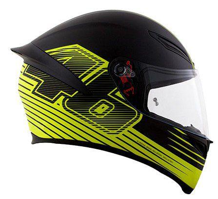 Capacete AGV K1 Edge 46 - Preto/Amarelo Fluor - Valentino Rossi