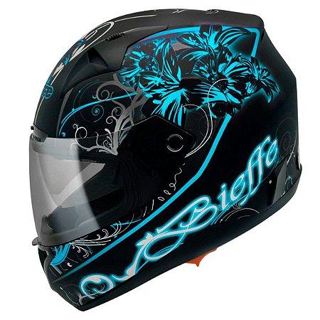 Capacete Bieffe B-40 Lirium com óculos interno - Preto/Azul Brilho