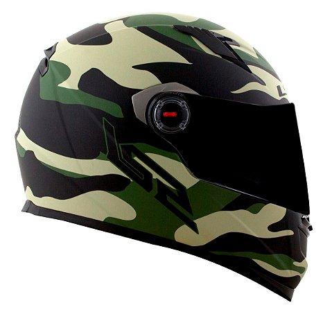 Capacete Ls2 Ff358 Army Camuflado Fosco Verde Militar