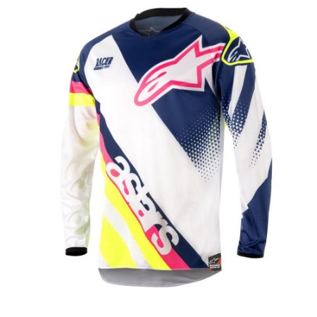Camisa Cross Alpinestars Racer Supermatic 2018 Azul Branco