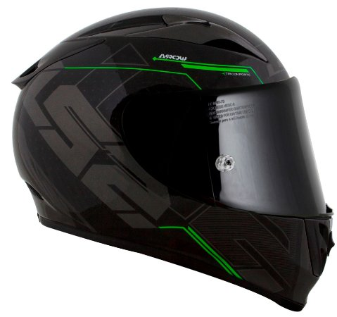Capacete Ls2 Ff323 Arrow R Techno preto verde Tricomposto