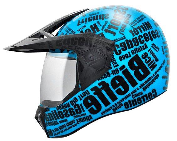 Capacete Bieffe 3 Sport Mirror - Azul Ciano/Preto Brilho