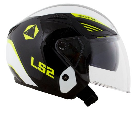 Capacete LS2 OF586 Rising - Preto/Branco/Amarelo