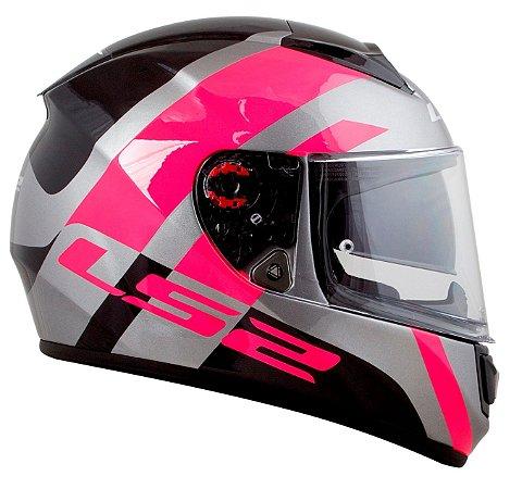 Capacete Ls2 Vector ff397 Trident Titanium Pink