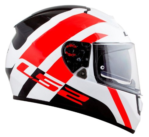 Capacete LS2 FF397 Vector Trident - Branco/Vermelho/Preto