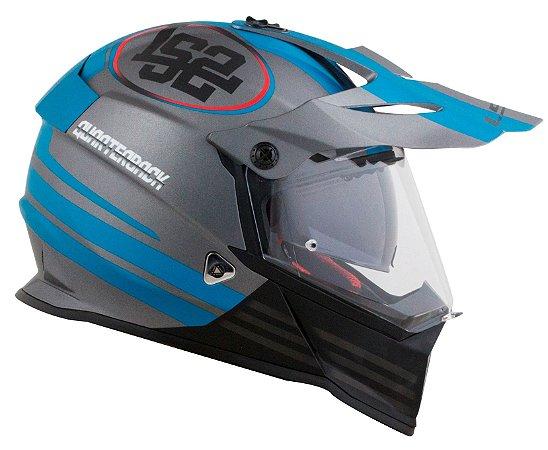 Capacete LS2 MX436 Pioneer Quarterback - Cinza/Azul Fosco
