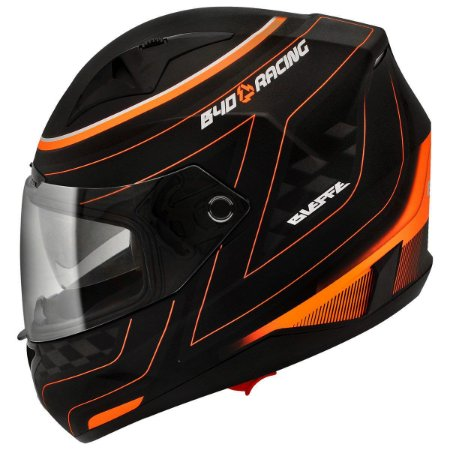 Capacete Bieffe B40 Racing Preto Fosco Laranja