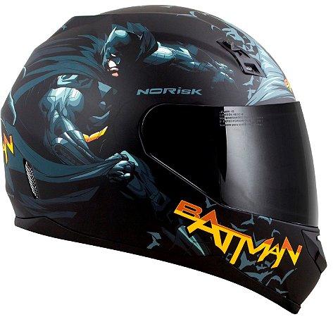 Capacete Batman Norisk FF391 Batman Hero - Preto/Cinza/Amarelo