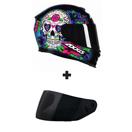 Capacete Axxis Eagle Skull - Preto/Azul + Viseira Fumê