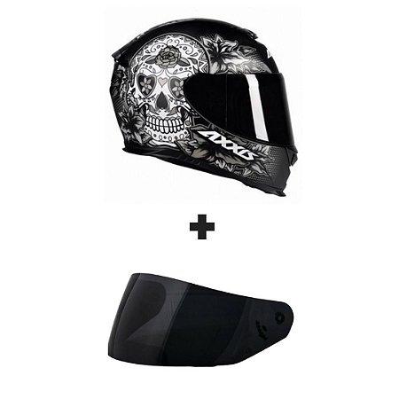 Capacete Axxis Eagle Skull - Preto/Cinza + Viseira Fumê