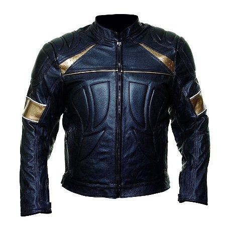 Jaqueta Couro Augustus Motociclista Motoqueiro Jmm033 Dourad