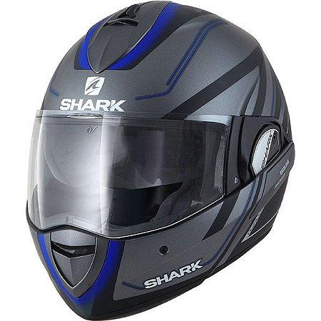Capacete SHARK Evoline Serie 3 Hyrium - Preto/Cinza/Azul Fosco