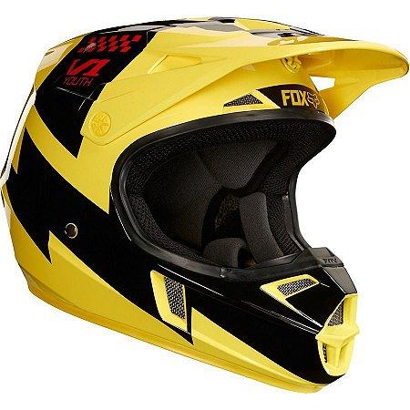 Capacete de Motocross Infantil FOX V1 Mastar YTH Amarelo