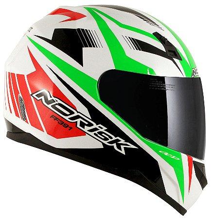 Capacete Norisk FF391 Slide - Branco/Verde/Vermelho
