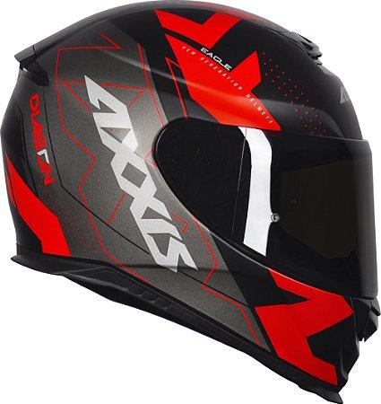 Capacete Axxis Eagle Diagon - Preto/Vermelho Fosco