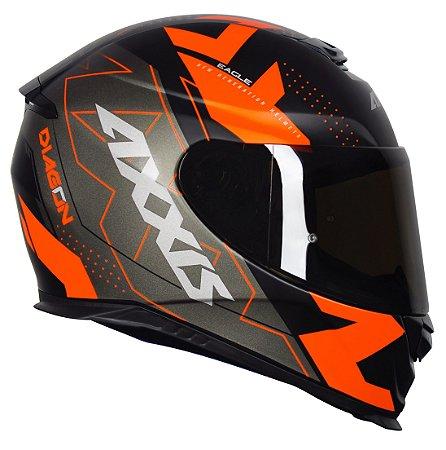 Capacete Axxis Eagle Diagon - Preto/Laranja Fosco