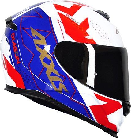 Capacete Axxis Eagle Diagon - Branco/Vermelho/Azul Brilho