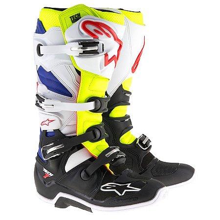 Bota Motocross Alpinestars Tech 7 Branca Preta Azul