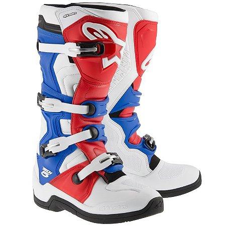 Bota Motocross Alpinestars Tech 5 - Branca/Vermelha/Azul
