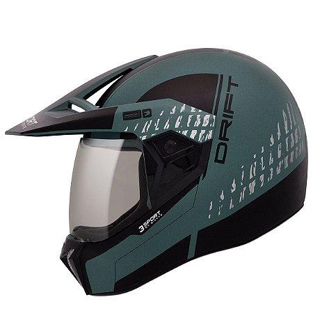 Capacete Bieffe 3 Sport Drift Verde Militar Fosco Pto Cross