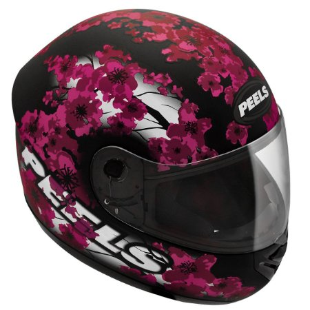 Capacete Peels Spike Blossom Preto Fosco Rosa