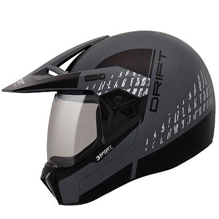 Capacete Bieffe 3 Sport Drift Preto Fosco Grafite Motocross
