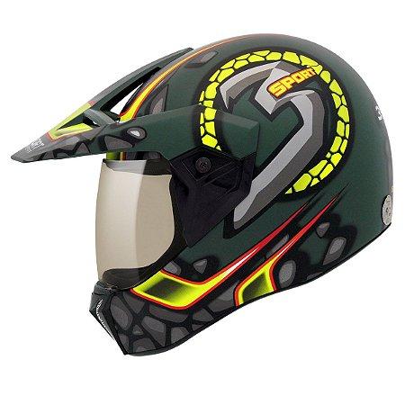 Capacete Bieffe 3 Sport Stones Verde Militar Fosco Amarelo