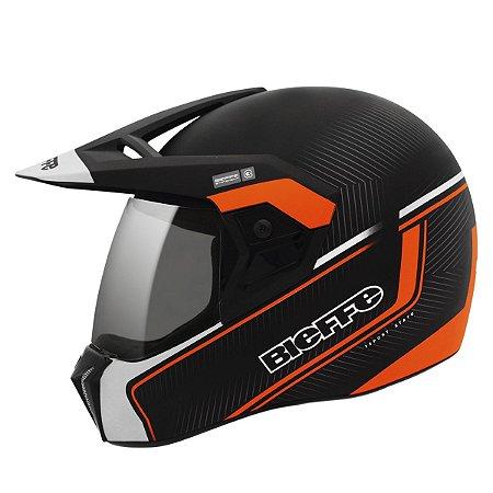 Capacete Bieffe 3 Sport Stato Laranja Fosco Motocross
