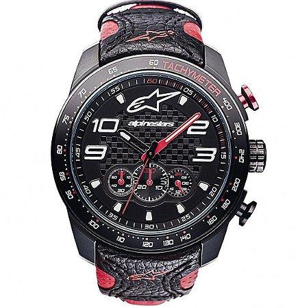 Relógio Alpinestars Tech Chrono - Preto/Vermelho Couro