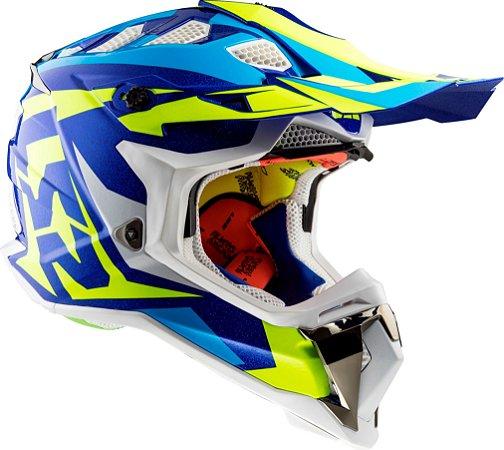 Capacete LS2 MX470 Subverter Nimble - Branco/Azul/Amarelo Fluor