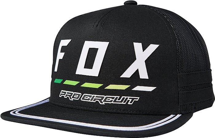 Boné Fox Pro Circuit Draftr Snapback - Preto/Branco