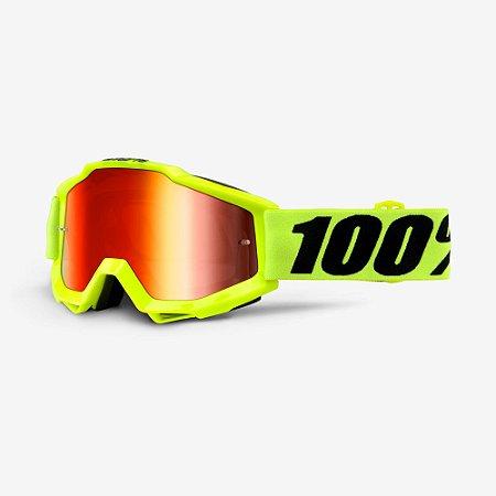 Óculos 100% Accuri - Amarelo Fluor/Vermelha