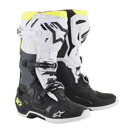 Bota Motocross Alpinestars Tech 10 Preto Branco Amarelo